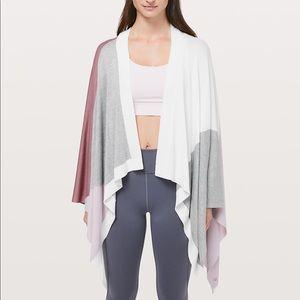 New LULULEMON Hatha Sweater Wrap Pink gray white